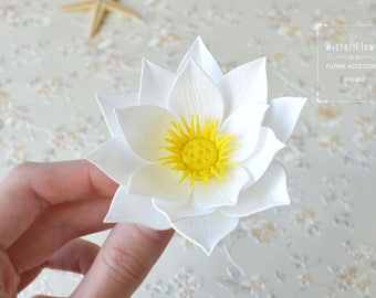 Lotus white flower hair clip zen jewelry Wedding gift for her Water lily Party favors Yoga gift Wedding flower waterlily Hair accessories