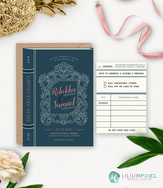 Library Wedding Invitation Printable / Story Book Wedding Suite / Book Themed Wedding / Vintage Rustic Printable Wedding Invitation Download