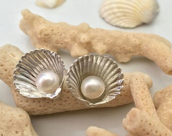 """Pearl and shell shaped silver earrings """"Conchiglie"""""""