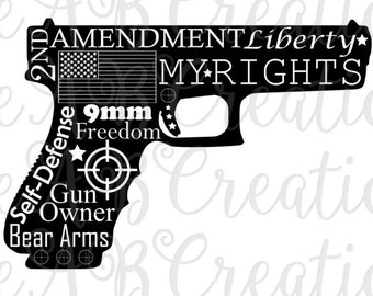 Gun, Pistol, AR, Second Amendment, 9 MM,  American Flag, Scope Targets, SVG files