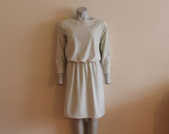 Vintage Dress White Ivory Dress Striped Dress White Black Striped Dress Long Sleeve Knee Length Elastic Waist Secretary Dress Day Dress