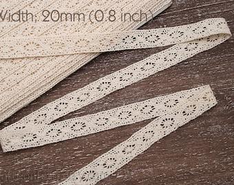 Cotton lace 20mm Natural color lace Cotton lace trim Crocheted lace ribbon Beige linen lace trim Lace hem Embellishment Sewing Craft