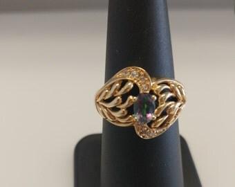 Mystic Topaz Diamond Ring