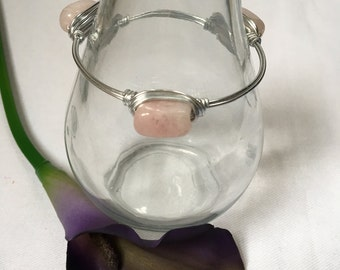 Sale! Rose Quartz Bangle Bracelet, Gemstone Bracelet, Wire Wrapped Bracelet