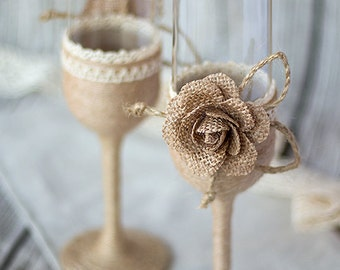 Burlap Rose Toasting Flutes, Champagne Rustic Wedding Glasses Set, Bride and Groom Toasting Glasses, Rustic Burlap Lace Wedding Glasses