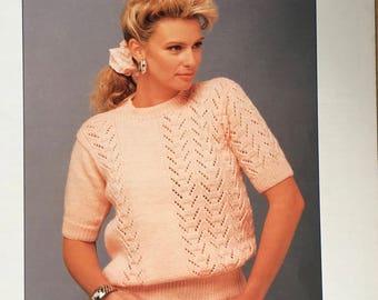 Sirdar Knitting Pattern, Ladies Lace Top Knitting Pattern, Ladies Lace Top, Ladies Short Sleeve Sweater, Ladies Jumper Pattern, No. 8746