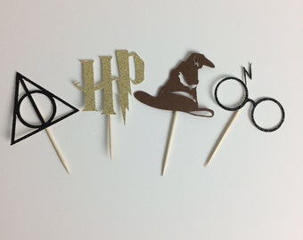 Harry Potter Cupcake Toppers ~ Deathly Hallows ~ HP logo ~ Sorting hat ~ glasses ~ lightning bolt ~ party ~ birthday