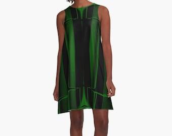 Black A Line Dress, Geometric Print Dress, Green Dress, Striped Dress, Sleeveless Dress, Party Dress, Wearable Art Dress Abstract Modern Art