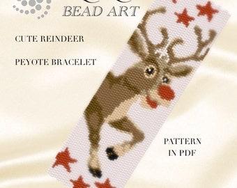 Peyote Pattern for bracelet - Cute reindeer of Santa peyote bracelet cuff pattern in PDF - instant download
