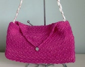 Pink bag knit with luxury merino woolsilk blend pink fair trade bag eco friendly bag braided ribbon handle pink womans bag