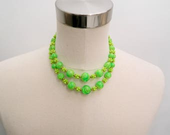Vintage Multistrand Necklace ... 1970s Lime Green Plastic Marble Bead Necklace