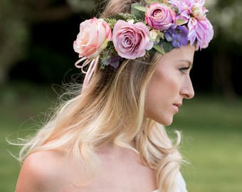 The Dancing at Dusk Crown, flower crown, mermaid crown, rose crown, festival flowers, garden party outfit