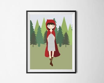 Little Red Riding Hood Print - Fairy tale wall art