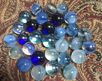 30 Vintage Marbles - Shades of Blue