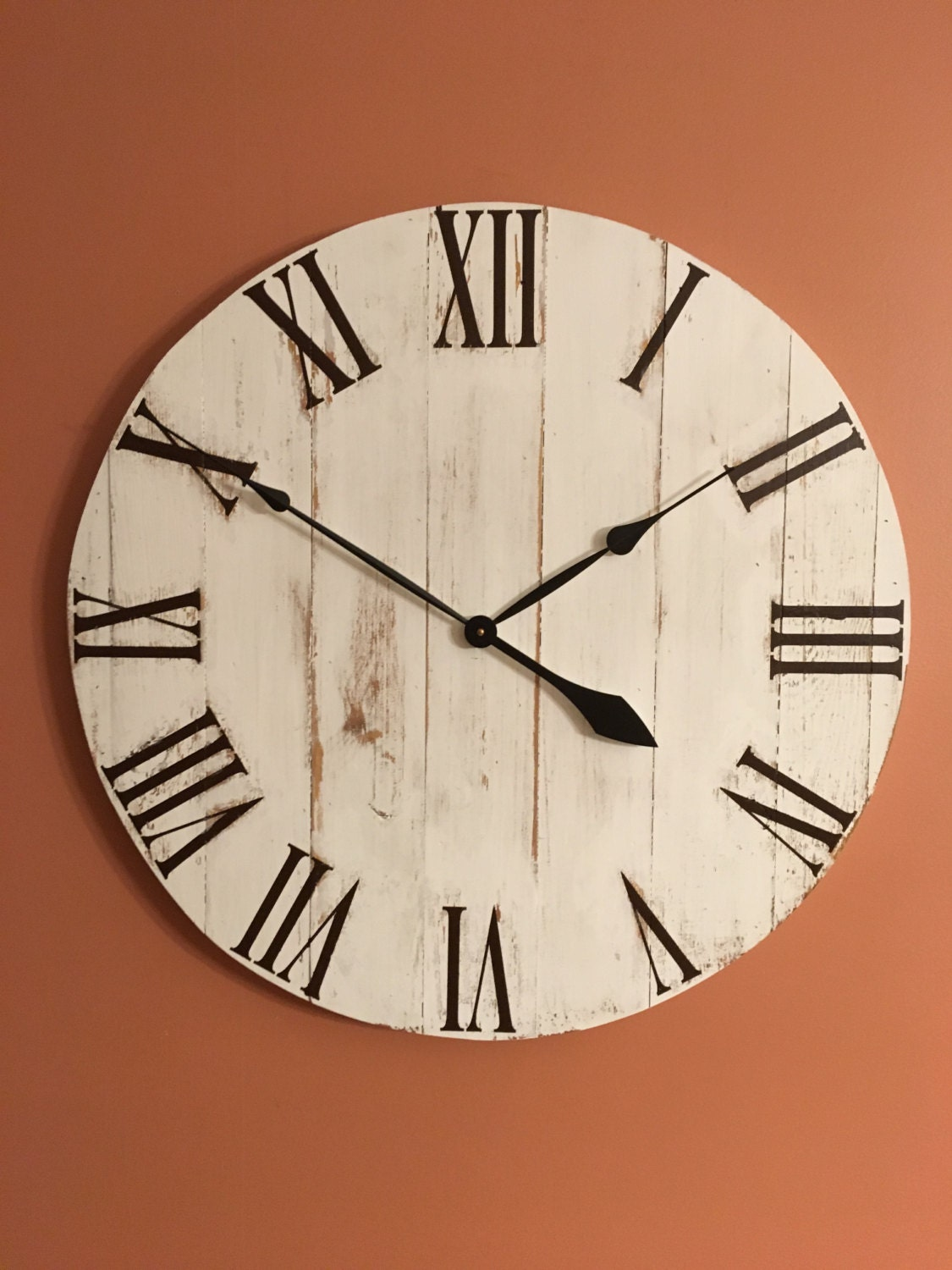 Large White Rustic Wood Clock Pallet Clock Reclaimed Wood