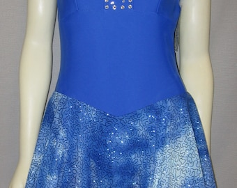 Stunning Cobalt Blue Lycra+Rhinestones Lyrical Dress Style DANCE/SKATE COSTUME Adult- M