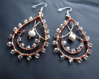 Gypsy Beaded Copper and Pearl Teardrop Dangle Earrings - One Pair