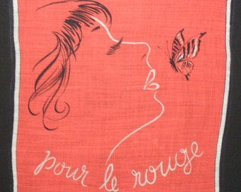 Rare Vintage Fashion Illustration Handkerchief Cotton Hanky