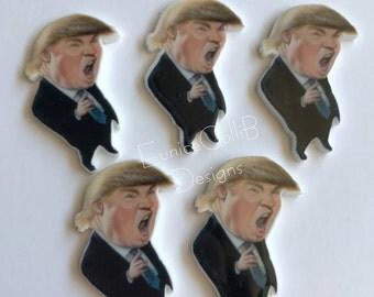 5 Trump flat back resin inspired ,trump embellishment