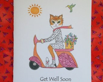 Get Well Kitty Card - Tabby Cat Riding a Scooter - Cat Get Well Card