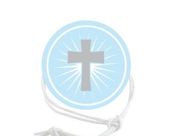 Baptism or First Communion Napkin Ring - Blue Cross (Qty:10)