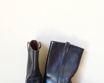 Mens boots biker army boots size 7.5 black leather boots men grunge 90s calf boots vintage size EU 40