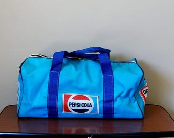 Pepsi-Cola Duffel Travel Bag Pepsi-Cola full logo  blue Vinyl Canvas Carryall Bag Weekender Bag Original Pepsi-Cola Vintage Gym Bag
