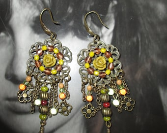 Earring, magic beads, pink, Green Khaki, apricot... lauramcreation