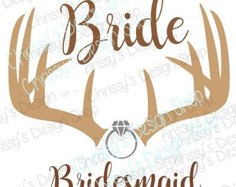 country Bride svg / bridesmaid svg / bridal party svg / antler svg / wedding svg / dxf / eps / pdf / png / country wedding svg / bride ring