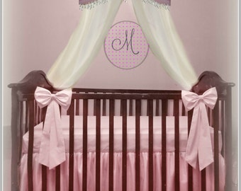 Crib Set -Crown with hanging Crystals, Sheer Canopy Drape, Crib Skirt w/Tulle overlays and 2 Crib Bows,