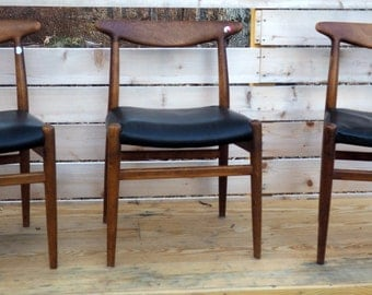 Set of Three Hans J. Wegner Side Chairs for C M Madsen - Model W2 - AS FOUND SPECIAL!