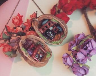 Miniature Walnut house pendant