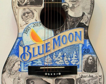 Blue Moon Ale, Seattle Grunge, Collage, Illustrated guitar, Cobain, Cornell