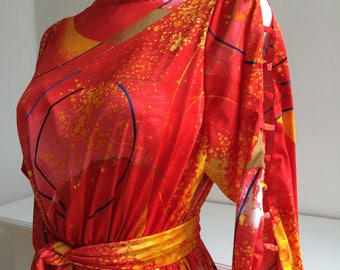 Fire orange space fabric dress