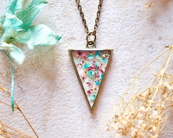 Real Dried Flowers in Resin Necklace, Triangle in Pink Blue Mint