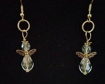 0135-Swarovski Crystal Angel Earrings