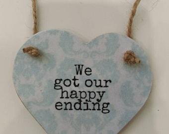 Happy ending, Valentine's gift, wedding gift, anniversary gift, lovers gift, keepsake gift, gift for her, gift for him, home decor, heart