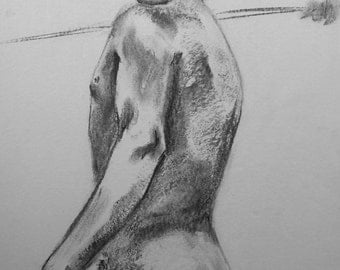 Life Drawing #2, Original Charcoal Sketch