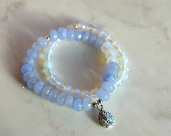 Stones semi precious Aquamarine & Opal (HARMONY) lotus flower charm bracelets