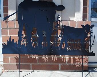 Cow and Calf Metal Yard Art, Cow and Calf, Lawn Yard Art, Garden Art, Homestead Cow, Holstein Cows, Holstein - Friesian Cows, Outdoor Art