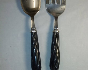 Natural Horn Handle Large Silver Plate Spoon and Fork Serving Set