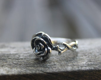 Rose silver ring Silver flower ring Bohemian ring Gypsy ring Hippie Silver rose ring Sterling silver ring 925 silver ring Gift for her