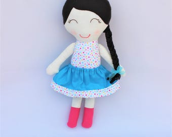 Personalized rag doll, fabric girl doll, gift of personalized birthday, cloth doll, doll of cotton and felt