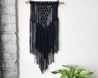 Black Fringe Macrame Wall Hanging
