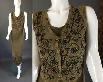 90s Vintage OLIVE GREEN M.P.H. Hippie Boho Midi Dress S