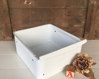 Vintage Enamelware Drawer, (A), Refrigerator Drawer, Box, Crisper, Storage, White, Cottage Chic, Farmhouse Decor, Rustic Decor, Primitive