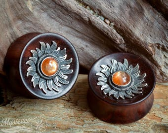 """Ear Plugs Gauges 15/16"""" 24mm wood sunstone gauges Free Shipping - Rosewood, Silver and Sunstone Ear Plugs - Double Flared - 1 Pair - Handmad"""