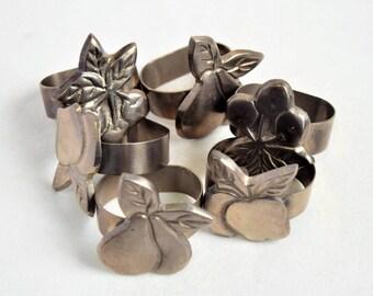 Set of 6 Pewter  Napkin Rings/ Vintage Napkin Ring/