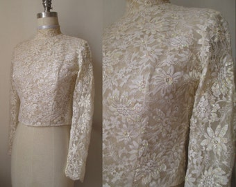 Vintage 1960s I.MAGNIN & CO. Ivory Lace Top - Sequins - Scalloped Collar and Cuffs - Covered Buttons