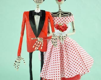 Catrina, Rockabilly, Dead Couple, skeleton, Hand made, paper mache figure, Day of the dead, bride and groom, Wedding figure, Mexican Folkart
